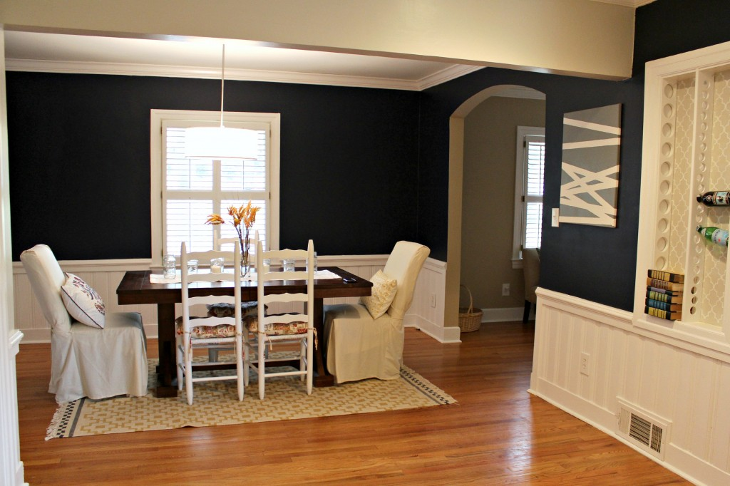 With A New Navy Blue Paint Job Accenting The White Painted Paneling Room Is Now Vibrant And Alive Farmhouse Style Dining Table