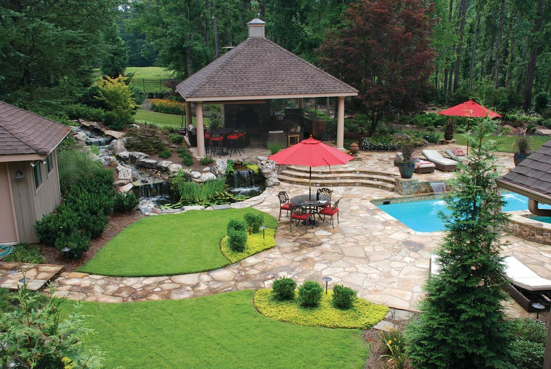 Outside landscape atlanta home improvement for Backyard makeover with pool