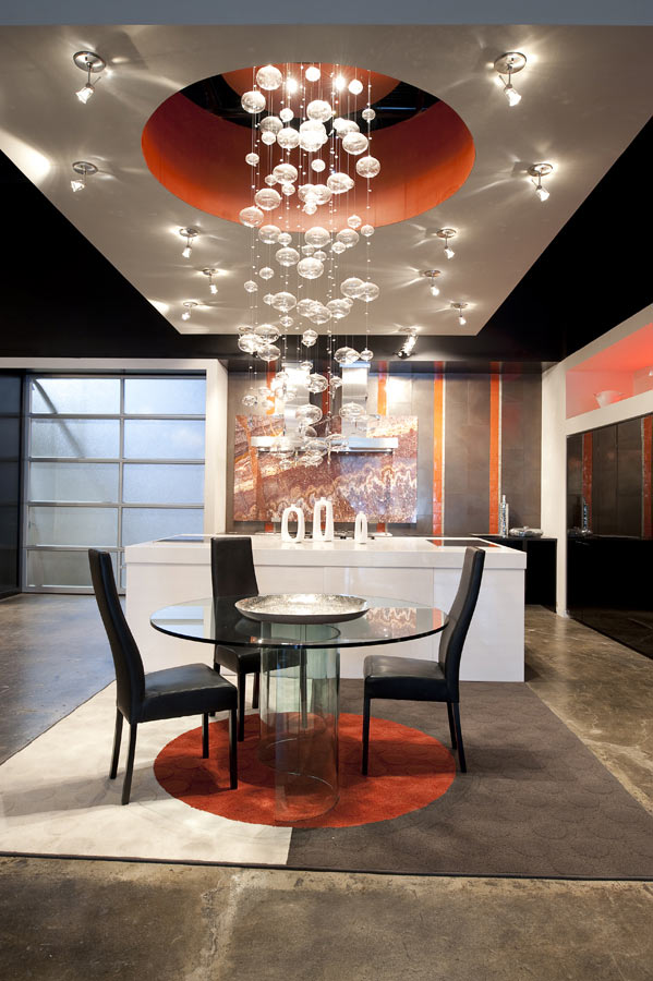 Bubble chandelier lighting in kitchen and dining area