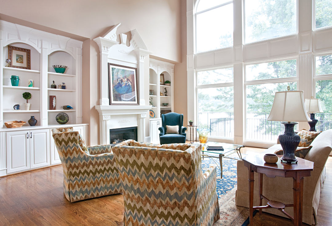 Living room design - looking out through wall of windows