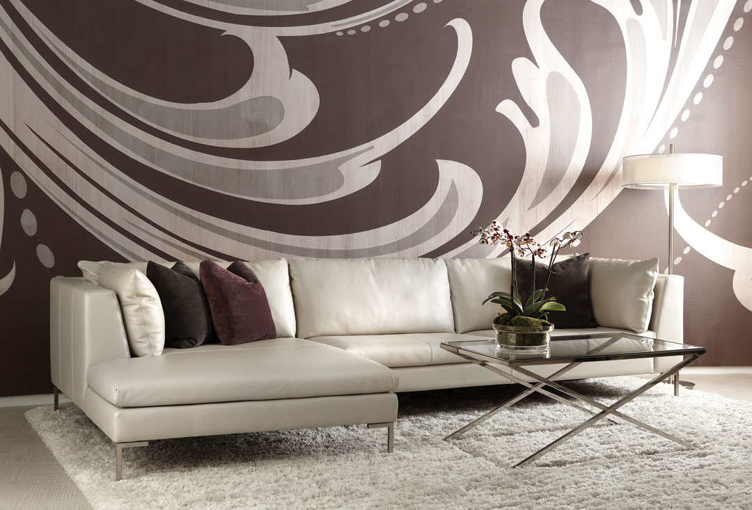 Bison White Leather and Brushed Stainless Steel Legs Inspiration Sectional by Cantoni