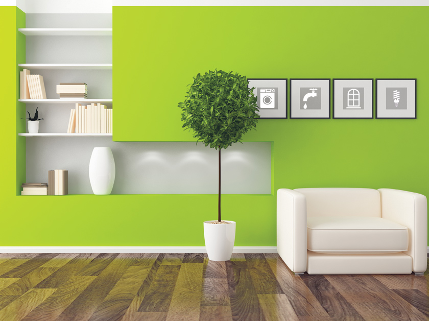 Living Room Design with wall painted green