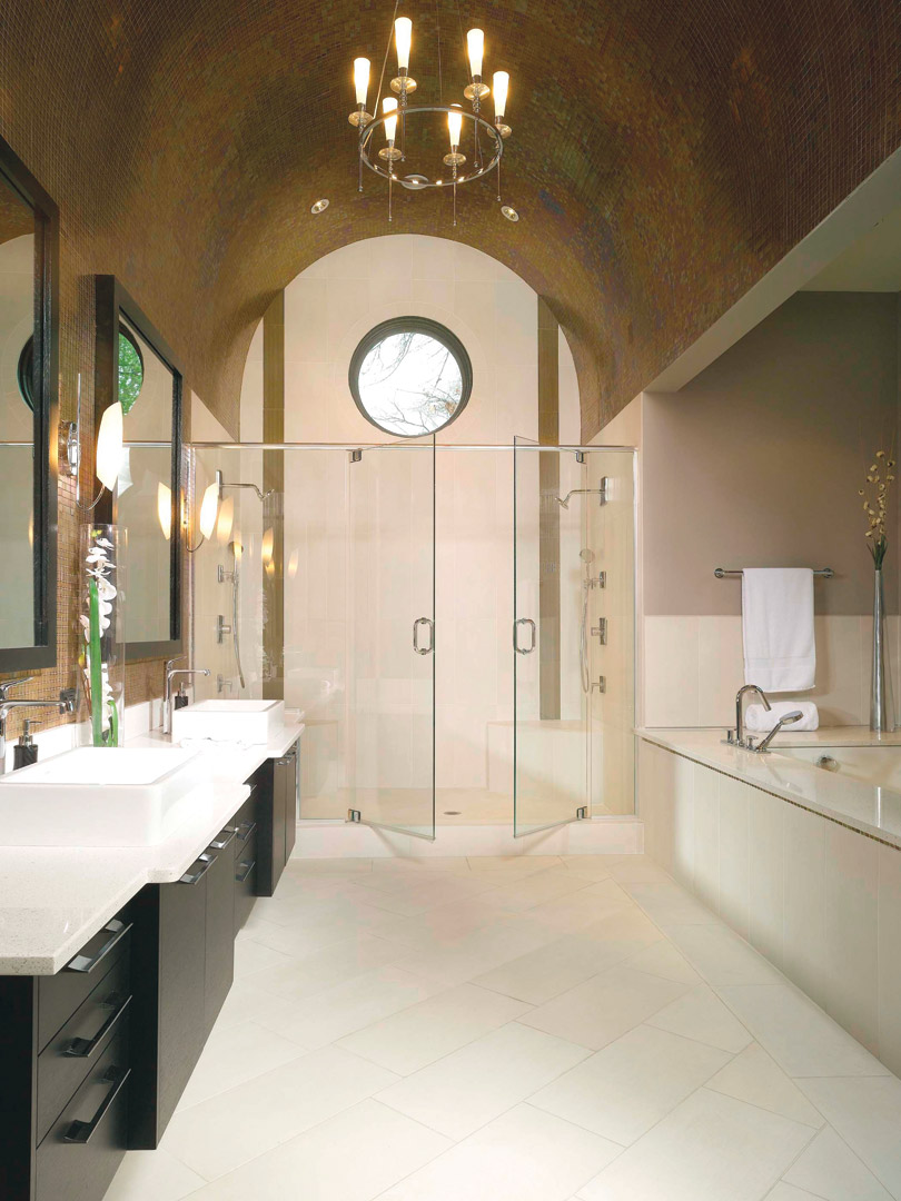 Beautiful bathroom design with walk in shower and tub