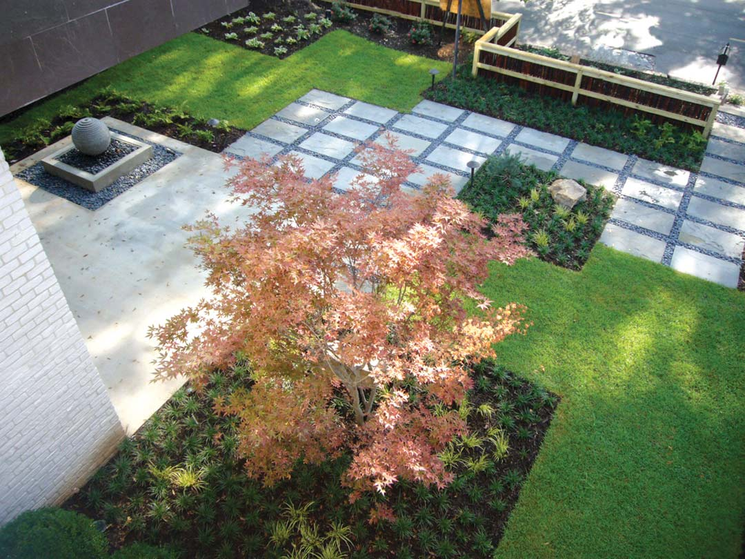 Exterior home improvement ideas - Modern Landscape Design With Mondo Grass Japanese Maple And American