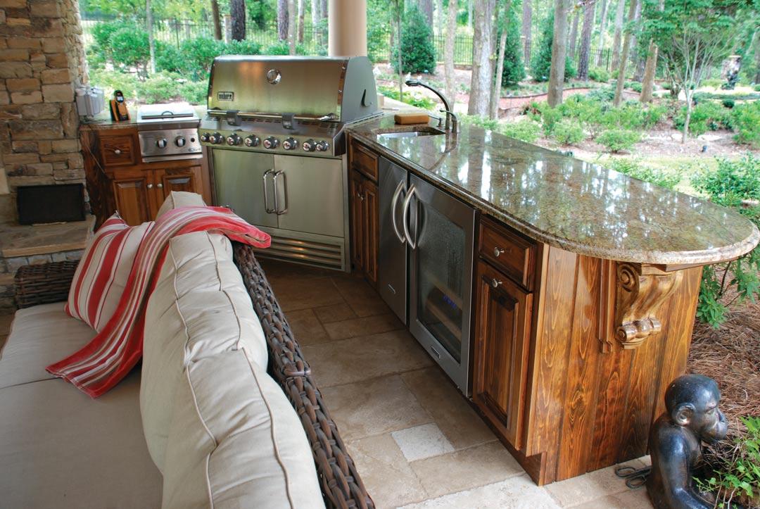 Backyard resort woodstock ga atlanta home improvement for Outdoor wood kitchen cabinets