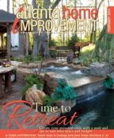 Cover of Atlanta Home Improvement magazine February 2014 issue showing a backyard oasis with an inviting spa and pool and a cabana setup for relaxing and dining.