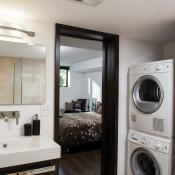 Basement design - bath with stackable washer & dryer