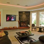 Basement design - living room with fireplace, extra built-in seating