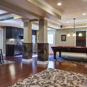Basement design - open floor plan showing game area and family area