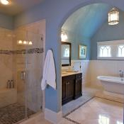 Bathroom design with separate walk-in shower and freestanding tub