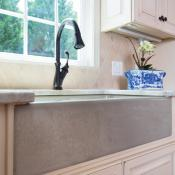 Bronze faucet and farm sink
