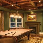 Entertainment room with coffered ceiling and pool table