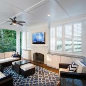 Deck design with plenty of cabinets for storage and flat screen tv