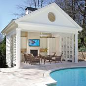 Covered outdoor living space and pool