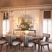 Faux metallic wall covering on dining room ceiling