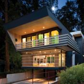 Front view of modern design home