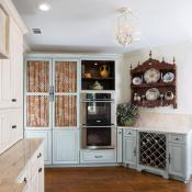 cabinets and wine rack