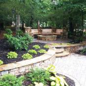 Hardscape with retaining wall and firepit