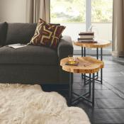 Living room shown sofa, end tables and rug