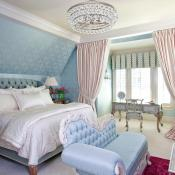 Master suite with wall paper