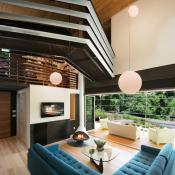 Interior of moder design home with bridge leading from one area of the home to another