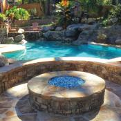 Backyard with pool and firepit