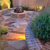 Hardscape with retaining pit and firepit