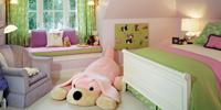 Kids room, color choices pink and green