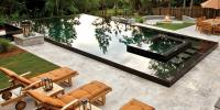 Pool area with firepit