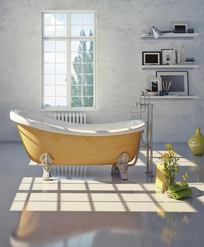 free-standing bathtub and free-stand faucet