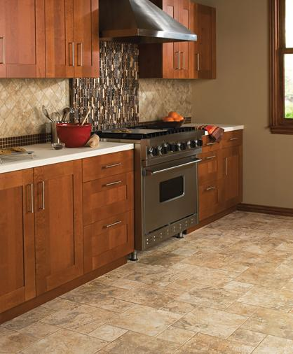 Kitchen remodel with travertine tile
