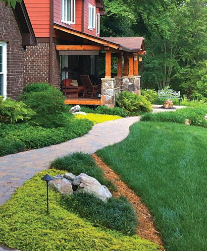 Atlanta landscape showing grass, groundcover and paver walkway
