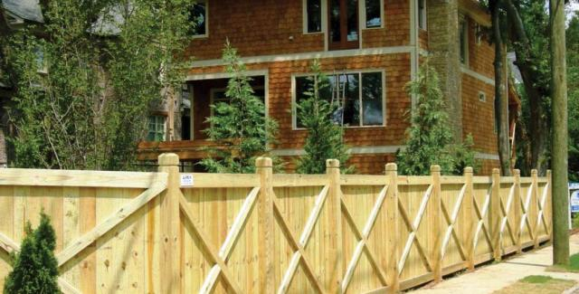 Wood Privacy Rail Top fence