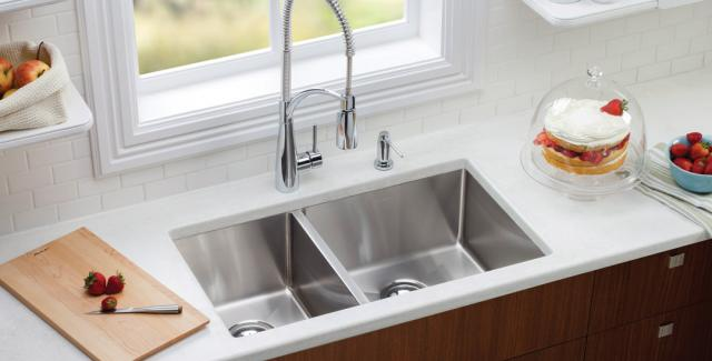 Elkay Crosstown sink with Avado chrome faucet available at Noland Co. Atlanta Kitchen & Bath Design Center