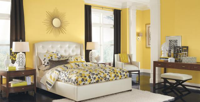 beautiful bedroom - yellow,brown, white