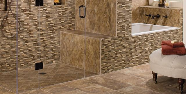 Tile design in bathroom