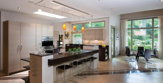 Modern design, clean lines, open spaces