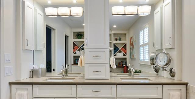 bathroom double vanity with center tower ideas