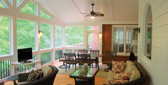 This is the photo of the deck after it was remodeled into a four-season outdoor area