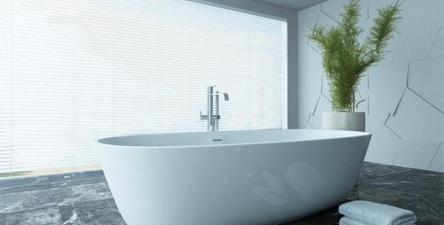 Stand Alone Bathtub With Floor Mount Freestanding Tub Filler