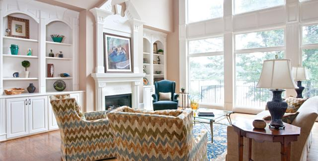 Interior design - family room- furniture with multi-color fabric