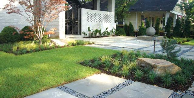 Modern landscape with Bluestone stepping stones and Black Mexican Pebbles
