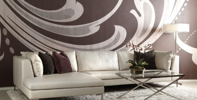 Bison white leather sofa with brown throw pillows by Cantoni