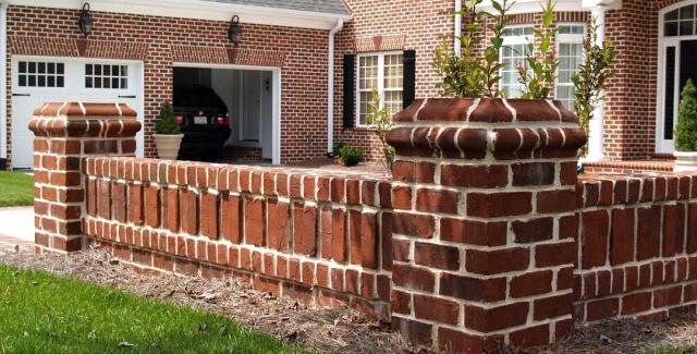Brick knee-wall fence