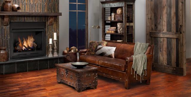 Timberclick Cognac Oak Locking Solid Hardwood in Living Room