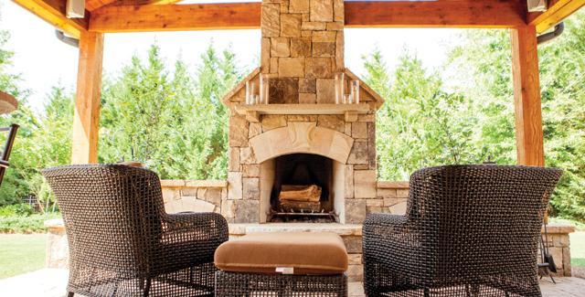 Outdoor fireplace built in the patio