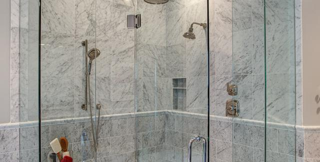 Marble Tile Glass Shower