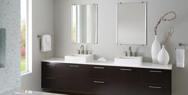 Side-lit bathroom mirros