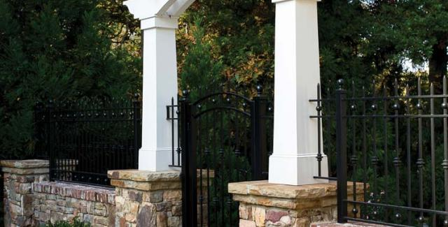 Fence with arbor-style gate