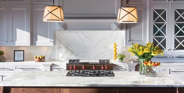 Kitchen design with oversized walnut island